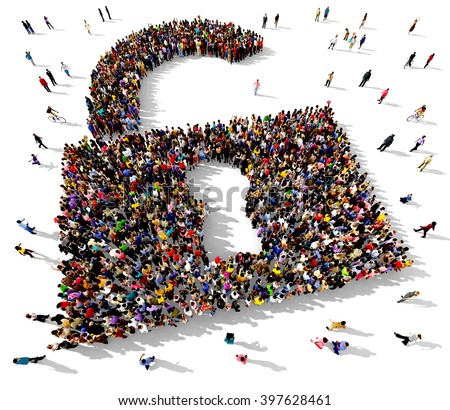 Large and diverse group of people seen from above gathered together in the shape of an unlocked padlock symbol - stock photo