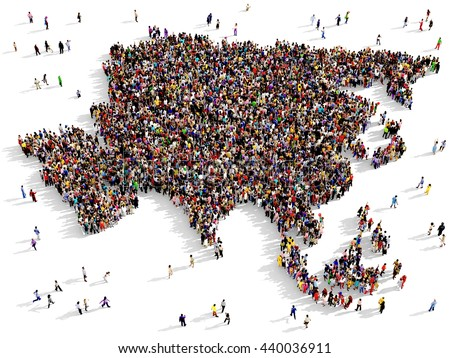 Large and diverse group of people seen from above gathered together in the shape of Asia map, 3d illustration - stock photo