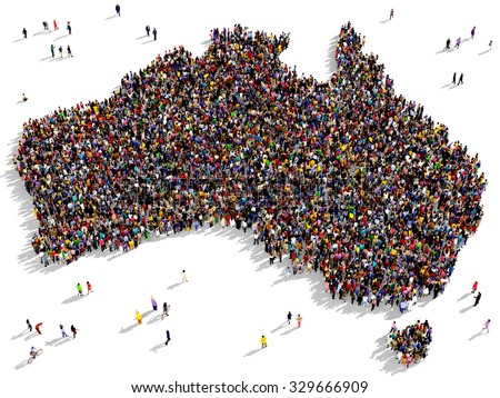 Large and diverse group of people seen from above gathered together in the shape of Australia - stock photo