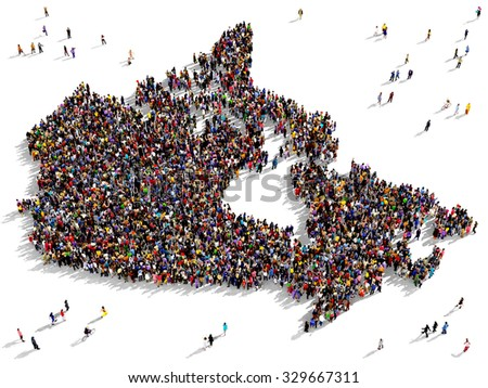 Large and diverse group of people seen from above gathered together in the shape of Canada - stock photo