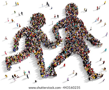 Large and diverse group of people seen from above gathered together in the shape of two silhouettes walking holding hands, 3d illustration - stock photo