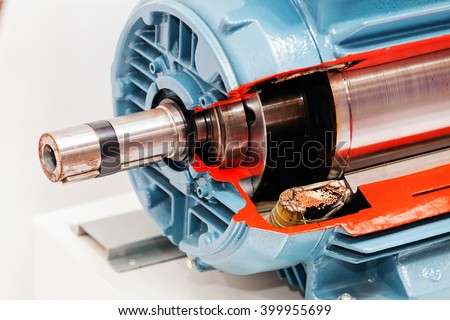 Large and powerful electric motor in modern industrial equipment plant