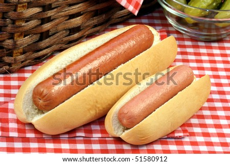 large and small hot dog on  picnic set  perfect for a family trip or an outdoors day - stock photo