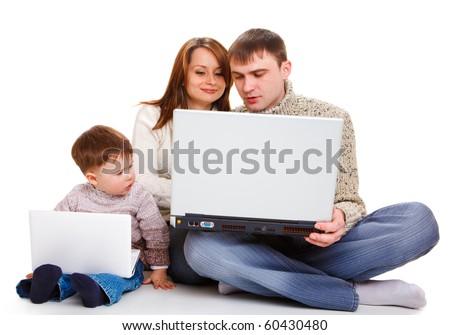 Large and small laptops for parents and kid - stock photo
