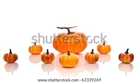 Large and small orange pumpkins centered on a white background. - stock photo