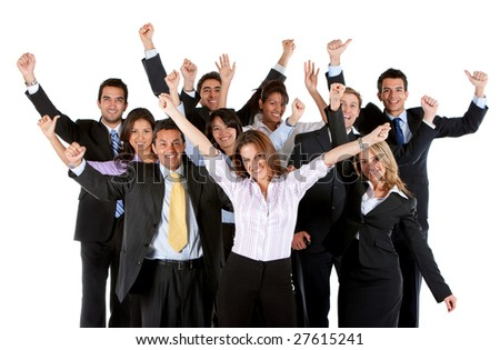 Large and very happy business group isolated over a white background - stock photo