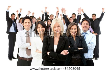 Large and very happy business group - isolated over a white background - stock photo