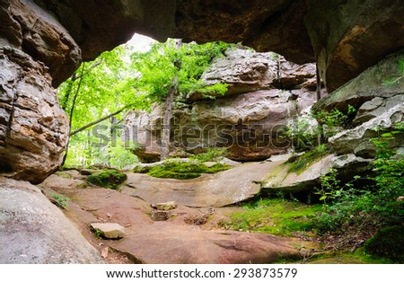 Large Arch at Petit Jean State Park - stock photo