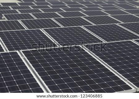 Large array of solarpanels - stock photo