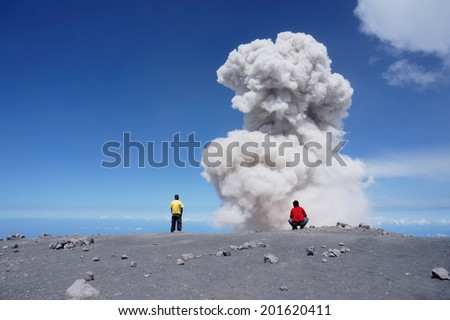 Large ash cloud rising from Semeru crater (Kawah Semeru) at Semeru Volcano Mountain, East Java, Indonesia. Semeru Mountain also known as Mahameru Mountain in Indonesia means the great mountain. - stock photo