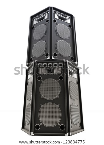 Large audio Tower speakers on a white background. - stock photo