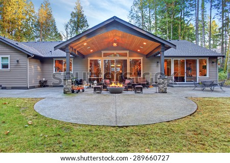 Large Back Yard Grass Covered Patio Stock Photo Image Royalty