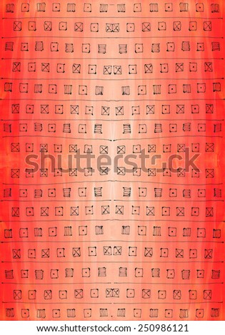 LARGE background texture, color brush strokes painting canvas acrylic handmade decorative elements symbols red black lines