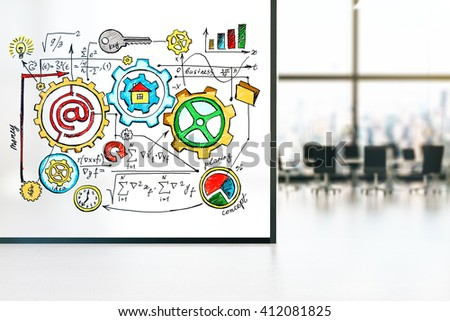 Large banner with business concept sketch in conference room interior. 3D Rendering - stock photo