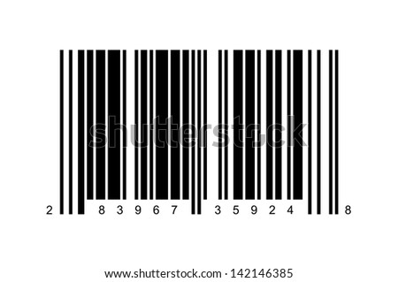Large Bar Code Isolated on White Background.