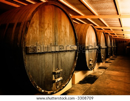 Large Barrels at a Winery in South Australia - stock photo