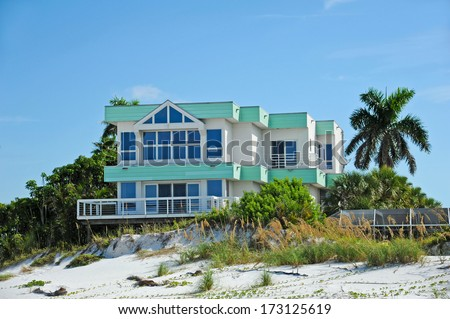 Large Beach House for Sale or Rent - stock photo