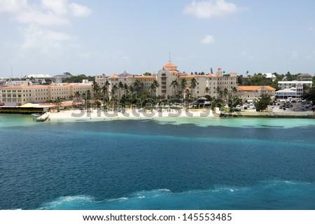Large Beach Resort with deep blue ocean waters - stock photo