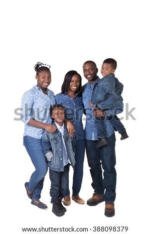 Large beautiful family isolated on white - stock photo