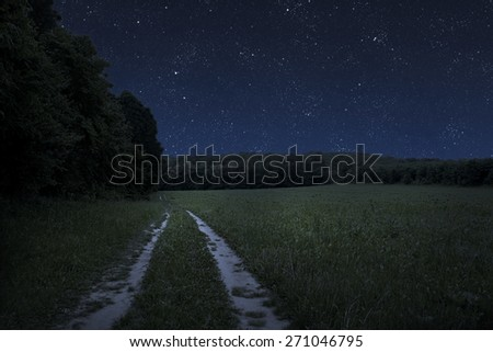 Large beautiful spring the field with a distant kind on a forest and night sky - stock photo