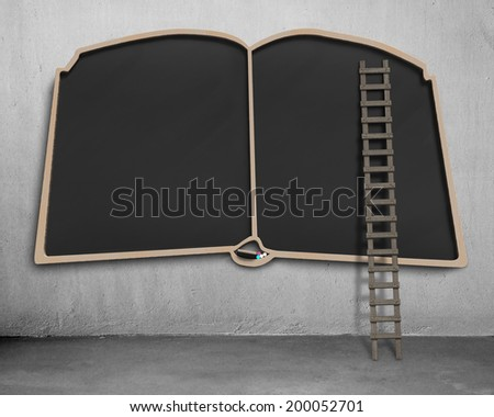 Large blank blackboard in book shape with wooden ladder - stock photo
