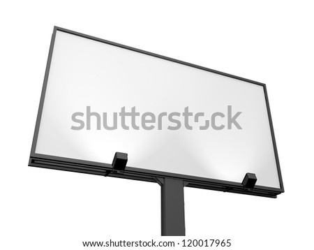 Large blank, empty, white billboard screen, isolated on white background, for your advertisement and design. - stock photo