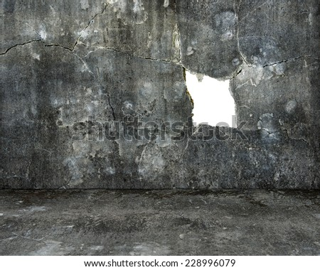 large blank hole on old mottled concrete wall and dirty cement floor for background texture - stock photo