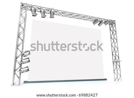 Large blank screen with lighting equipment. 3D rendered image. - stock photo