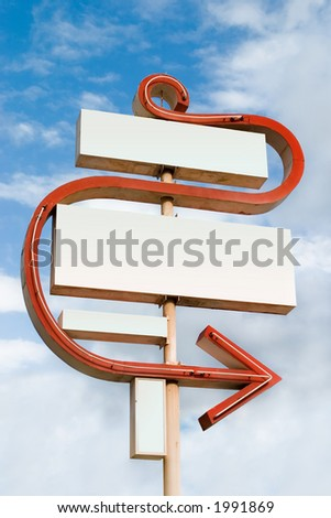 Large blank sign with neon arrow