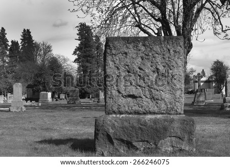 Large blank tombstone - stock photo