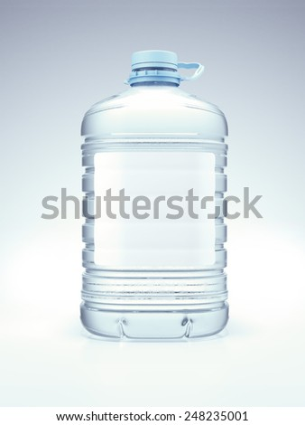 Large blue bottle with water - stock photo