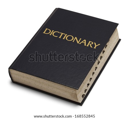 Large Blue English Dictionary Isolated on White Background. - stock photo