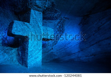 Large blue salt cross in salt cathedral in Colombia - stock photo