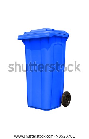 Large blue trash can (garbage bin) with wheel, isolated on white background - stock photo