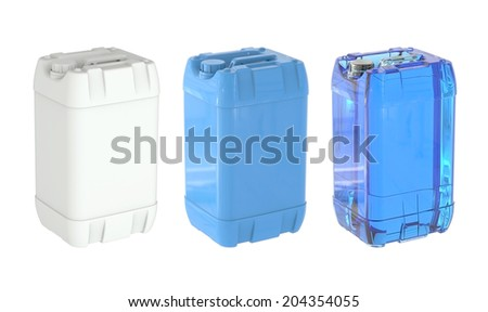 Large bottle gallon jerrycan white blue and blue transparent of pure water isolated on a white background.Easy editable for your design.  - stock photo