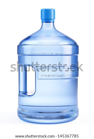 Large bottle of pure water isolated on a white background - stock photo