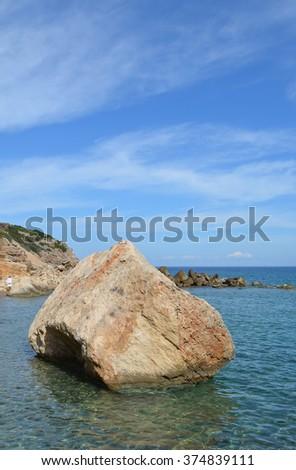 Large Boulder in the sea, Crete, Greece - stock photo