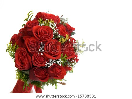 Large bouquet of red roses isolated on white. Rose and Romance