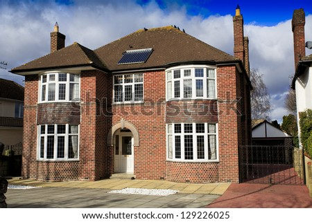 Large brick detached house in Swindon, UK - stock photo