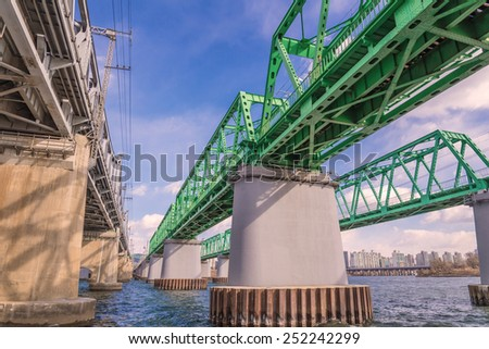Large bridge highway over the river in Seoul, Korea - stock photo