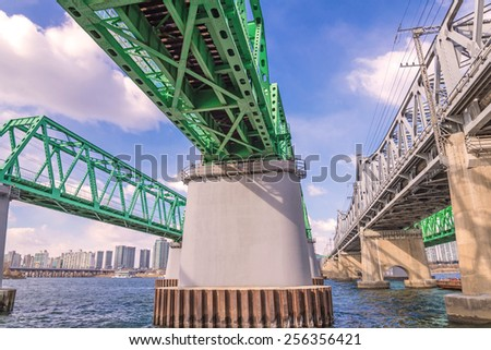 Large bridge highway over the river in Seoul, Korea. - stock photo