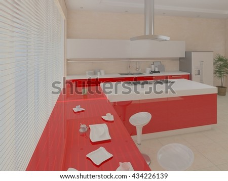 Large bright kitchen with a large window, 3d rendering. - stock photo