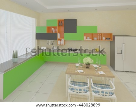 Large bright kitchen with modern furniture, 3d rendering. - stock photo