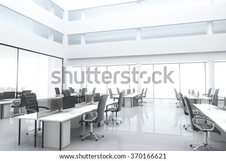 Large, bright modern office with windows and furniture 3D Render - stock photo