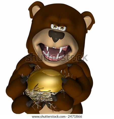 Large brown bear representing a Bear Market growling angrily as it takes someone's golden nest egg. Isolated on a white background - stock photo