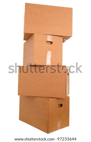 Large brown cardboard boxes in stack store - stock photo