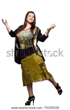 large build caucasian woman full length spring summer fashion models clothes clothings on studio isolated plain background - stock photo