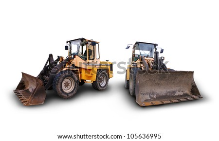 large bulldozer at the construction site in germany - stock photo