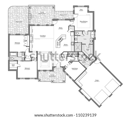 Large Bungalow Floor Plan with Room Names - stock photo