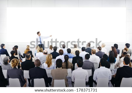 Large Business Seminar With White Board - stock photo
